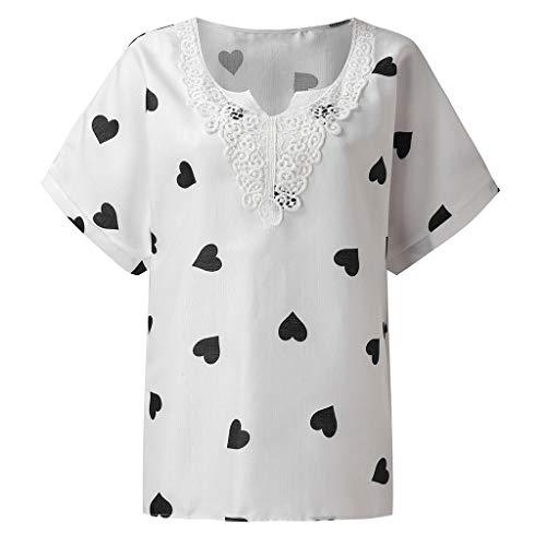 Women VintageV-Neck Print Patchwork Lace Short Sleeve Blouse Shirt Tops White