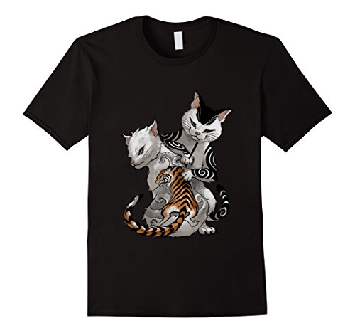 Mens Irezumi Cat Artist with Traditional Japanese Tattoo T-Shirt Medium (Traditional Men Shirt)