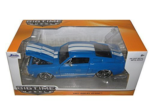 1967 Ford Shelby Mustang Gt-500 Blue with White Stripes 1/24 by Jada 97401 ()