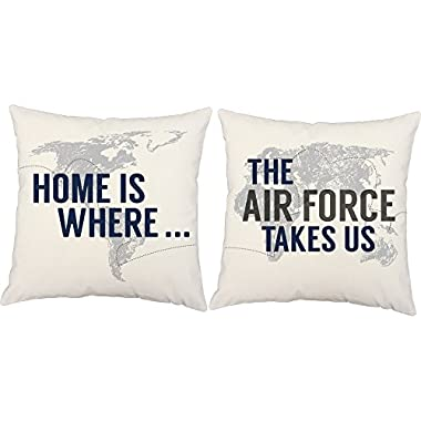 Set of 2 RoomCraft Home is Where the Air Force Takes Us Throw Pillows 14x14 Square White Cotton Military Cushions