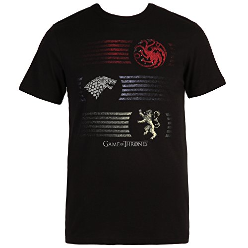 HBO's Game of Thrones Three Houses Crests T-Shirt - Black (Medium) (Dragon Girl Game Of Thrones)