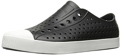 native Unisex Jefferson Fashion Sneaker, Jiffy Black/Shell White,9 US Men/11 US (Eva Black Shoes)