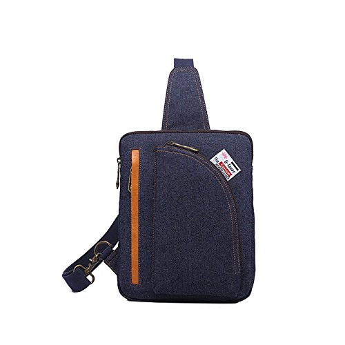 Sunbobo Bolso de hombro simple retro de la lona con cremallera Messenger Bag Color Dark Blue