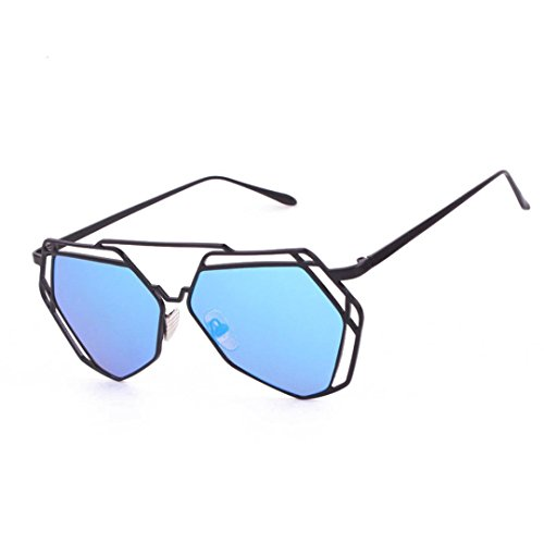 Transer Twin-Beams Geometry Design Women Metal Frame Mirror Sunglasses Cat Eye Glasses - Womens Frame