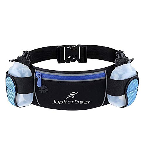 JupiterGear Running Hydration Belt Waist Bag with Water-Resistant Zipper Pockets & 2 Water Bottles for Running Hiking Cycling Climbing and for 6.1 Inch Smartphones