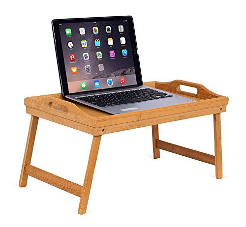 BirdRock Home Lap Desk Bed Tray | Bamboo | Handles | Foldable Breakfast Serving Tray | Pull Down Legs | Laptop Stand | Natural (Folding Breakfast Table)