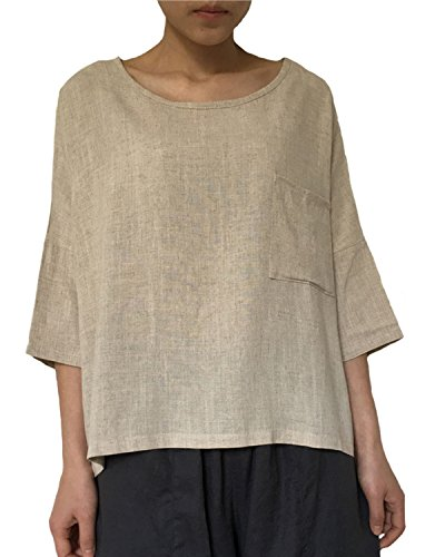 Aeneontrue Women's Linen Cotton Short Sleeve Summer Crop Tees Tops T-Shirt Blouses Beige Large