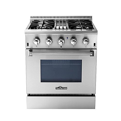 Thorkitchen Hrd3088u 30  Freestanding Professional Style Dual Fuel Range With 4 2 Cu  Ft  Oven  4 Burners  Convection Fan  Stainless Steel