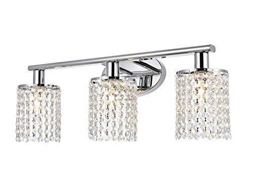 Luburs Bathroom Light Fixtures 3-Lights Crystal Wall Sconce Vanity Light Fixtures for Bathroom Lighting Fixtures Over…