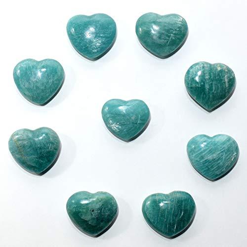 32mm Blue Green Teal Amazonite Heart Polished Sparkling Feldspar Gemstone Crystal Mineral Amazon Stone Spesimen - Madagascar (1PC)
