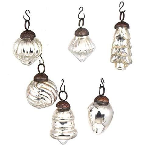 Indian Shelf Handmade 6 Piece Glass Assorted Party Event Decor Christmas Hanging X-mas Tree Balls Ornament (Glass Ornament Mercury Christmas)