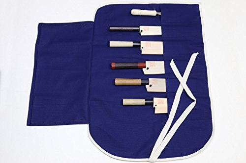 Yoshihiro Cotton Knife Pouch/bag Japanese Sushi Chef Knife Accessories (6 Slots) (Navy) by Yoshihiro