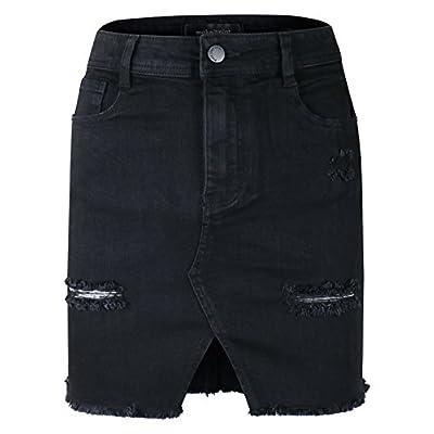makeitmint Women's Front Slit Raw Frayed Hem Distressed Denim Jean Mini Skirt at  Women's Clothing store