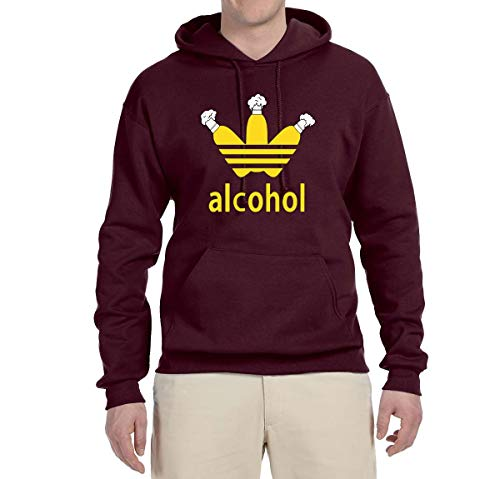 Wild Bobby Alcohol Funny Three Stripes Logo Parody | Mens Drinking Hooded Sweatshirt Graphic Hoodie, Maroon, X-Large