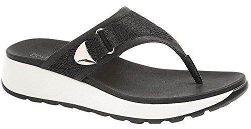 Ladies Womens Comfort Mule Slip On Toe Post Flip Flop Sandals Shoes Size 3-8 Black