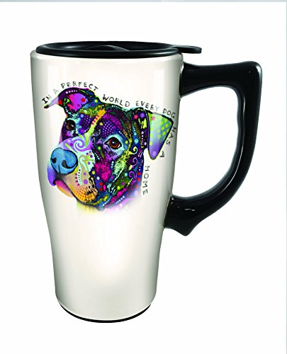 Spoontiques Dean Russo Boxer Travel Mug, Off-White