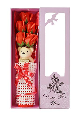 Adabele Gifts I Love You Red Flower Bouquet Scented Soap Roses with Cute Teddy Bear Long Lasting Women Girls Anniversary Birthday Mother's Day Valentine's Gift sf501a