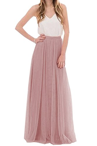 Uswear Women Wedding Long Tulle Skirt Dress Bridal Bridesmaids Floor Length High Waisted Maxi Tutu Party Dress (Mauve, ()