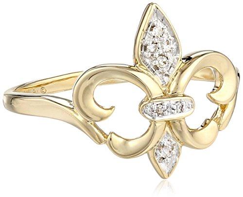 Andin 14k Yellow Gold Fleur-de-Lis Diamond Ring (.03 ct, ...