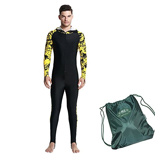 Mens Wetsuit - Modest Full Body Diving Suit & Sports Skins for Running, Exercising, Snorkeling, Swimming, Spearfishing & Water Sports - MZ Garment (yellow-2, - Full Running Suit Body