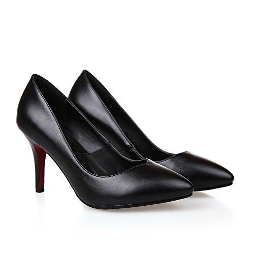 Amoonyfashion Damesschoenen Met Dichte Neus En Dichte Hoge Hakken Pumps-schoenen Met Rondingen Stijl En Zwart Gepolijst