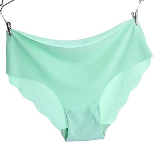 Women Invisible Underwear Thong Cotton Spandex Gas Seamless Crotch (M, Mint Green) ()