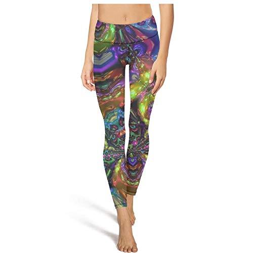 (Young Women Yoga Pants Cool Trippy Laptop Cute Elastic Yoga Tights Gym Workout Bra)