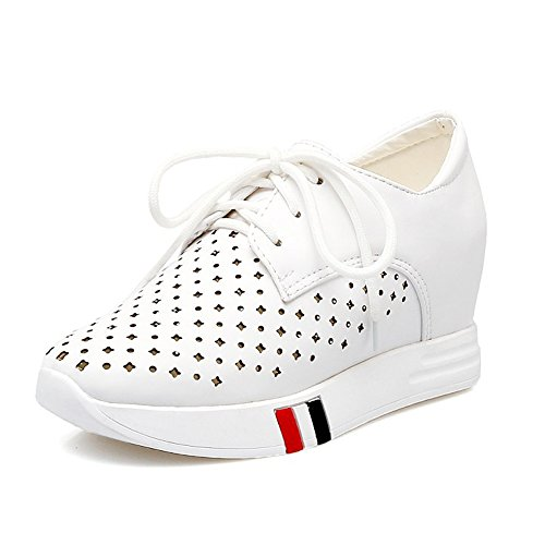 Women High Top Wedge Heel Sneakers Summer Lace Up Shoes