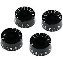 Musiclily Left Hand Metric Size Plastic Speed Control Knobs for Gibson LP Les Paul Guitar Replacement, Black(Pack of 4)