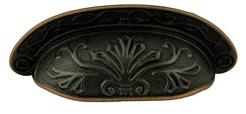 Venetian Bronze Baroque Scroll Work Cup Bin Pull Handle 2 1/2
