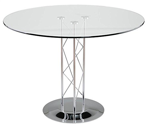 Contemporary Dining Table w Glass top &  - Trave 48