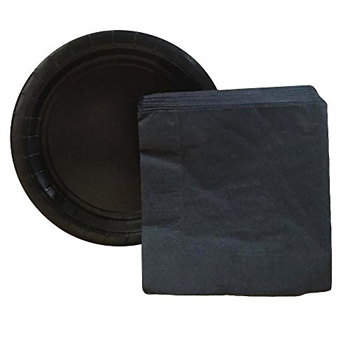 Black Paper Halloween Party Supplies Bundle - 20 Black Paper Plates and 20 Black Napkins - Easy Clean Up For a Fun and Simple Halloween Party -