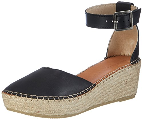 SELECTED FEMME Sfabie Leather Wedge Sandal, Sandalias con Tira de Tobillo para Mujer Negro (Black)