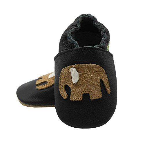 Sayoyo Suaves Zapatos De Cuero Del Bebé Zapatillas elefante lindo negro