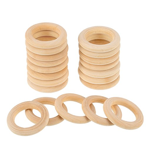 eBoot 20 Pack Wood Rings Wooden Rings for Craft, Ring Pendant and Connectors Jewelry Making (35 mm)