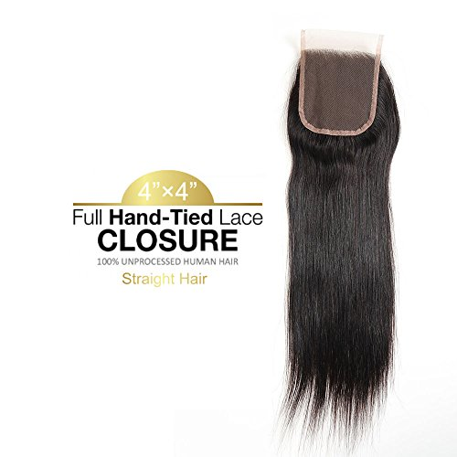 - Brazilian Straight Hair Free Part 4x4 Swiss Lace Closure 10-20 Inch Natural Color 100% Human Hair(12inch)