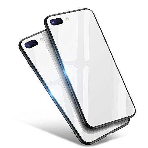 iPhone8 Plus 케이스 / iPhone7 Plus 케이스,Aunote TPU와 강화 유리가 저스트 피트 강화 유리 케이스 렌즈 보호내 충격 극박 내구 하드 케이스 Qi충전 대응 아이 폰8플러스 케이스 / 아이 폰7플러스 케이스(iPhone8 플러스 / iPhone7 플러스 용 화이트)