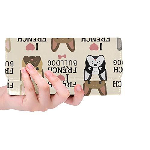 Unique Custom Love French Bulldog Text Women Trifold Wallet Long Purse Credit Card Holder Case Handbag