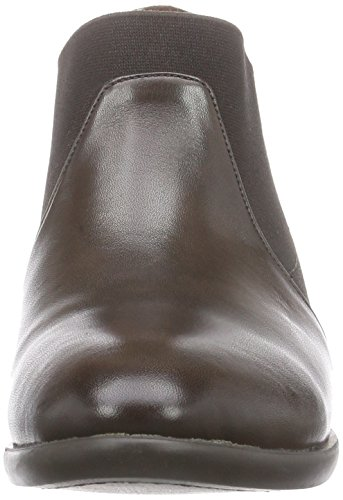 Mujer Braun Chelsea Marrón de Brown d Dark Botines Cuero brown Encounter Elastic Inuovo w0X6E