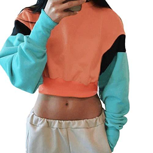 Women Color Block Splice Pullover Vintage Long Sleeve Sweatshirt Crop Top Blouse (M, Orange)