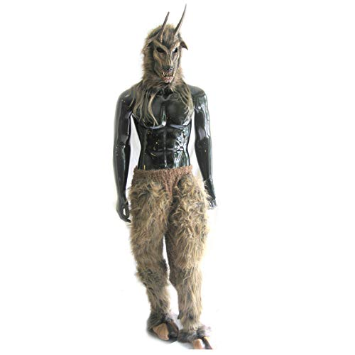 Horned Goat Devil Mask and Legs Complete Costume Brown]()