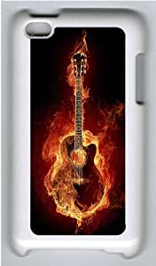 iPod 4 Case Cover,Flame Art Guitar Hard Case Cover for Apple iPod 4/ ipod 4th Generation PC Plastic White