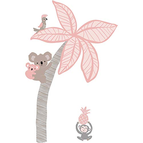Wall Appliques Decals (Lambs & Ivy Calypso Wall Decals/Appliques - Pink, Gray, Animals, Jungle, Tree)