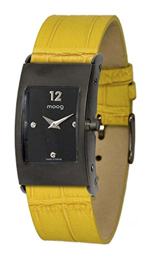 Moog Paris Dome Women's Watch with Black Dial, Interchangable Yellow Strap in Genuine Leather - M41661-006