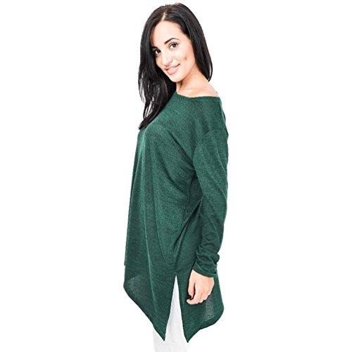 6a417dd32077e Elegante De Camisas Color Split Larga Blusa Casual Mujeres Manga Niseng  Sólido Cuello Redondo Verde Tops ...