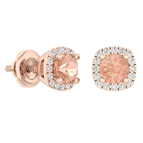 10K Rose Gold Round Cut Morganite & White Diamond Ladies Halo Style Stud Earrings by DazzlingRock Collection (Image #2)