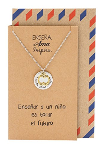 Quan Jewelry Best Gifts for Teachers in Spanish Apple Jewelry Enseña AMA Inspira Engraving on Pendant, Latin Engraved Necklace and Greeting Card (2-Tone)
