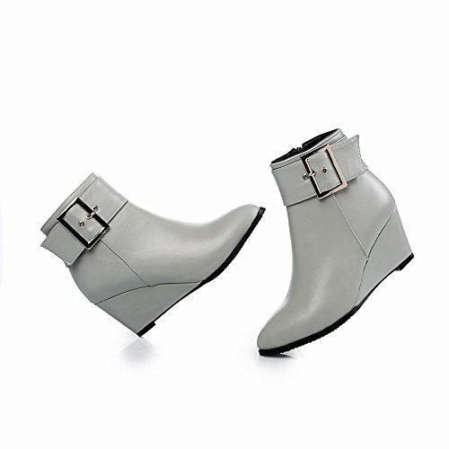 Charm Foot Womens Western Zeppa Con Fibbia Con Fibbia, Tacco Alto, Stivali Bassi Grigi