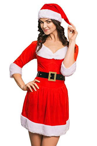 Adult Women Miss Santa Costume With Cape Role Play Christmas & New Year Dress Up (Small/Medium, Red, White, Black)