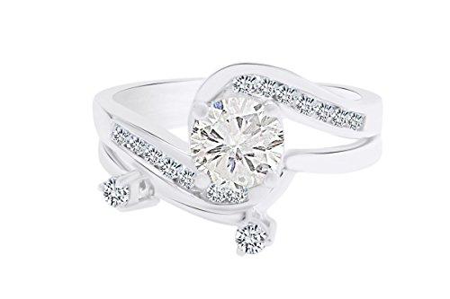 IGI Certified 0.24 Carat (ctw) 14K White Gold Round Diamond Swirl Bridal Engagement Band Ring Set (G-H) 1.00 cttw Ring Size-7.5